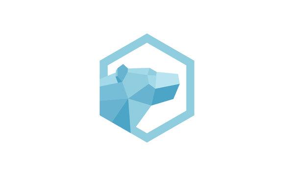 Polar Bear Vector Logo constructed using polygonal shapes.