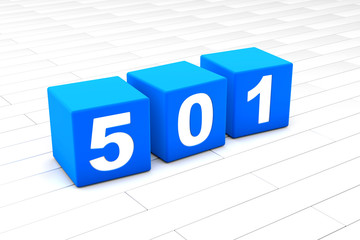 3D rendered illustration of the HTML error Code 501 made of cubes.