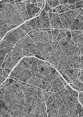 City map Paris, monochrome detailed plan, vector illustration
