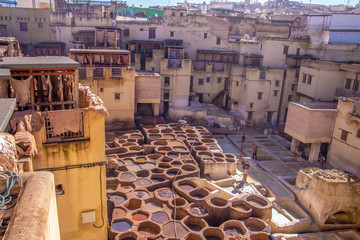 Tannery in old medina of Fez, Marocco