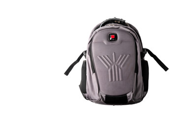 Gray backpack isolated on white background.