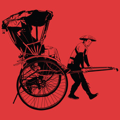Poster Art Studio old traditional vintage japanese hand pulled rickshaw