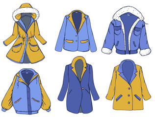 Hand drawn elements set with outerwear: color coat, jacket, blazer. Vector illustration
