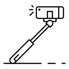Modern selfie stick icon. Outline modern selfie stick vector icon for web design isolated on white background