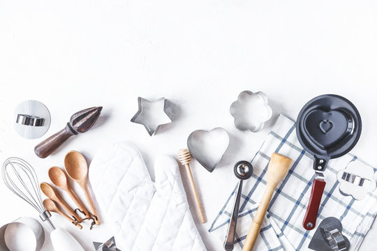 dishes and kitchen accessories for baking on the Kitchen table on a white background