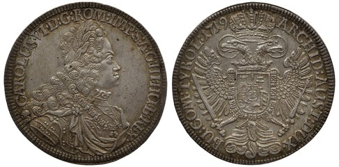 Holy Roman Empire of German Nation silver coin 1 one thaler 1719, armored bust of Emperor Karl VI right, crowned eagle with two heads holding sword and scepter, shield on chest,