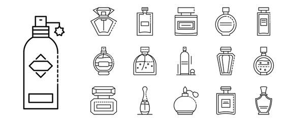 Fototapeta Fragrance bottles icons set. Outline set of fragrance bottles vector icons for web design isolated on white background