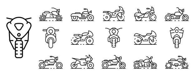 Motorbike icons set. Outline set of motorbike vector icons for web design isolated on white background Wall mural