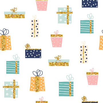 Seamless pattern with gift boxes with gold glitter elements. Cute holiday print. Vector hand drawn illustration.