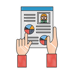 hands with curriculum vitae isolated icon