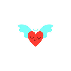 Hearts with wings. Valentines Day vector illustration. Cute cartoon style picture. Winged hearts, shining crown. Vector illustration