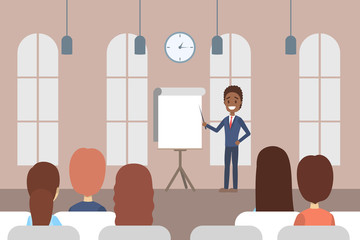 Man making business presentation in front of group