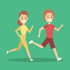 Couple of jogger run together. Sport training