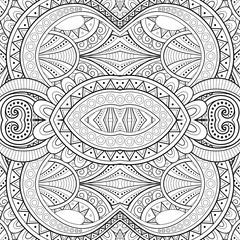 Monochrome Seamless Tile Pattern, Fancy Kaleidoscope