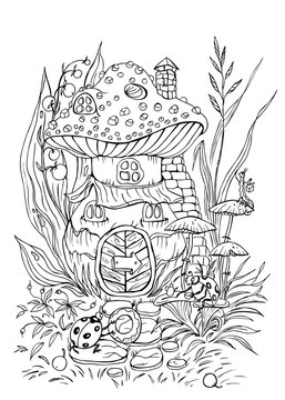 House in the form of amanita and its inhabitants, ladybugs vector illustration.