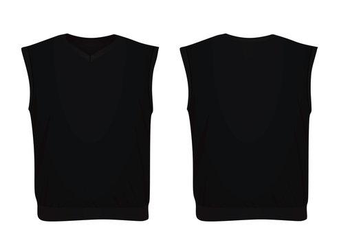 Black sleeveless sweater. vector illustrtion