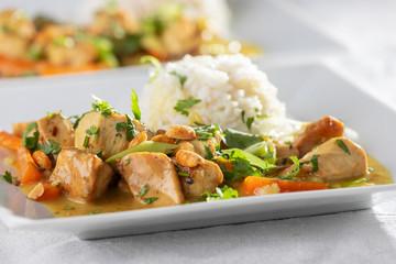 Nahaufnahme von einem Thaicurry mit Reis