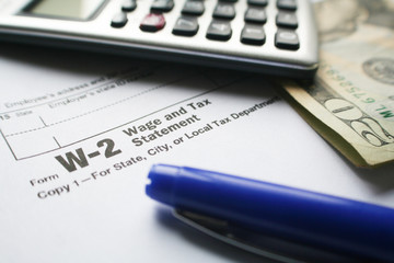 W-2 Tax Form High Quality Stock Photo