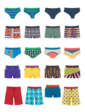 A set of men's swimming trunks, underpants and shorts, different models, beautiful clothing for beach and everyday life, isolated on white background.