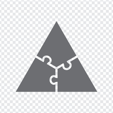 Simple icon  triangle puzzle in gray. Simple icon triangle puzzle of the three elements on transparent background. Flat design. Vector illustration EPS10.