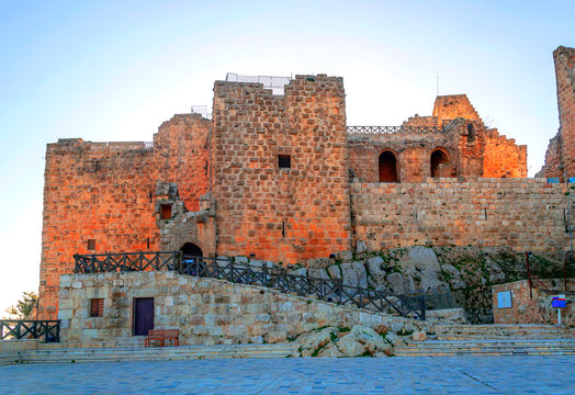 Ruins of Ajlun castle in Jordan on a sunny day.