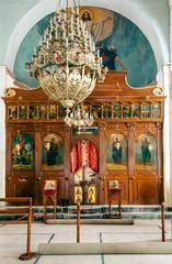 MADABA, JORDAN-FEBRUARY 2015. Indoor of the church of Saint George in Madaba jordan.