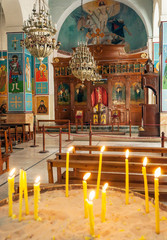 MADABA, JORDAN-FEBRUARY 2015. Indoor of the church of Saint George in Madaba jordan.