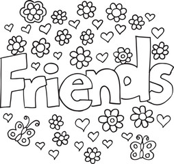 Foto op Plexiglas Cartoon draw Spring Flowers Friends Vector Illustration Coloring Page Art
