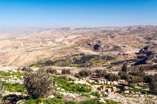 Mount Nebo in Jordan in a sunny day. Mount Nebo is a peak of 817 meters located in western Jordan today.