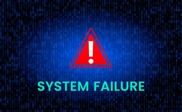 The message is a system failure against the background of the binary matrix code stream on the screen.