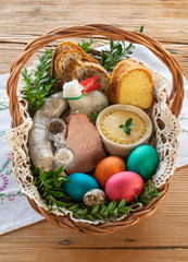 Traditional Easter basket with food
