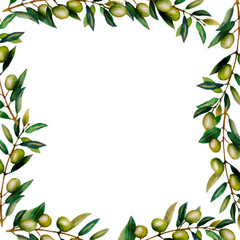 Beautiful watercolor round frame with olive tree branches with ripe olive berries and green leaves.