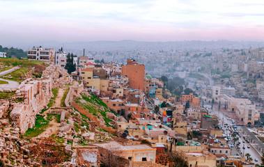 AMMAN, JORDAN-FEBRUARY 2015. Aerial view of Amman, the capital of jordan on a cloudy day.