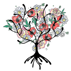 Vector hand drawn graphic illustration of tree with flowers, leaves, branch Sketch drawing, doodle style. Artistic abstract, watercolor silhouette wirh rose, poppy, dandelion, leaf. Sketch drawing