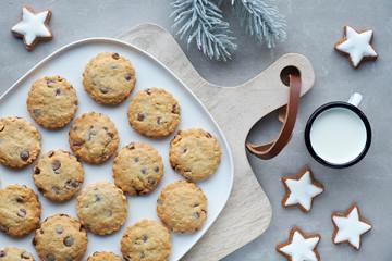 Christmas chocolate chop cookies, flat lay on grey stone