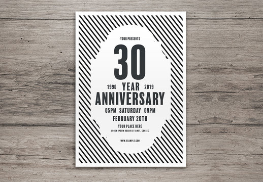 Anniversary Celebration Layout with Striped Background