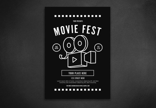 Movie Festival Flyer Layout with Camera Illustration