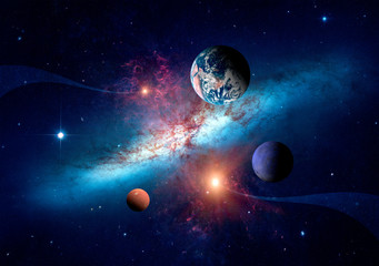 Poster Universe Planets of the solar system against the background of a spiral galaxy in space. Elements of this image furnished by NASA.