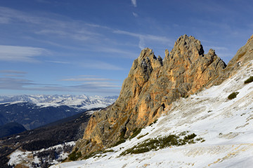 Rock wall of the mountain massif Puez from the Gardena Pass, Alta Badia, Dolomites, South Tyrol, Italy - The Dolomites are UNESCO World Heritage Site.