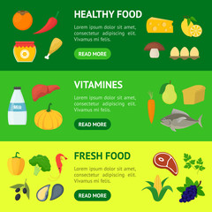 Cartoon Healthy Food Signs Color Banner Horizontal Set. Vector