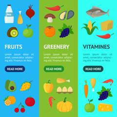 Cartoon Healthy Food Signs Color Banner Vecrtical Set. Vector