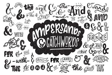 Fototapeta Big set of hand drawn ampersands ans catchwords obraz