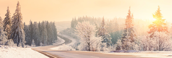 Winter landscape, Winter Forest, Winter road and trees covered with snow, Germany