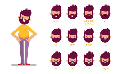Set of the position of the lips when pronouncing words for the animation of the talking character.