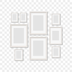 blank picture frames for photographs. vector realisitc mockup. design template on transparent background
