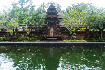 Lake by old temple amidst trees and plants