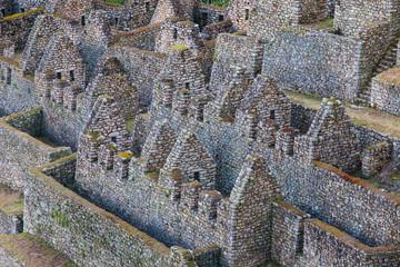 High angle view of old ruins at Machu Picchu