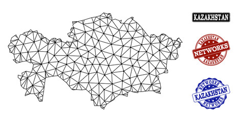 Black mesh vector map of Kazakhstan isolated on a white background and scratched stamp seals for networks. Abstract lines, dots and triangles forms map of Kazakhstan.