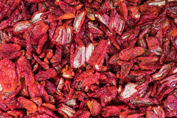 High angle view of dry red chili peppers for sale at market