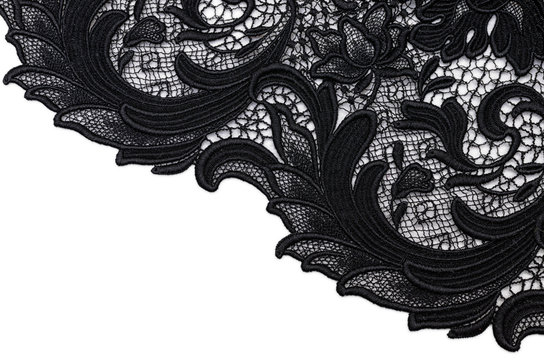Cotton fabric, black lace